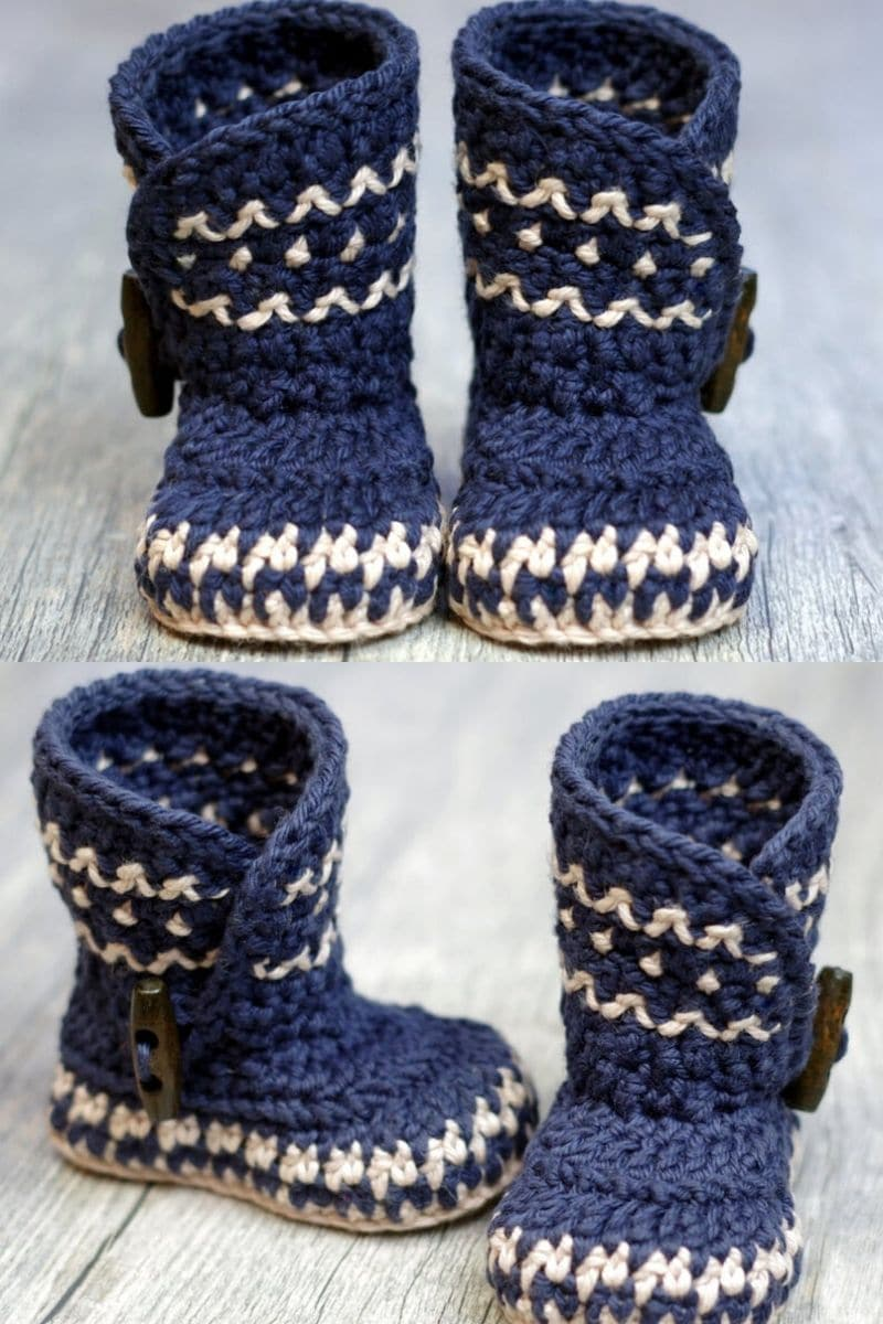 Blue and ivory dakota pattern crochet booties