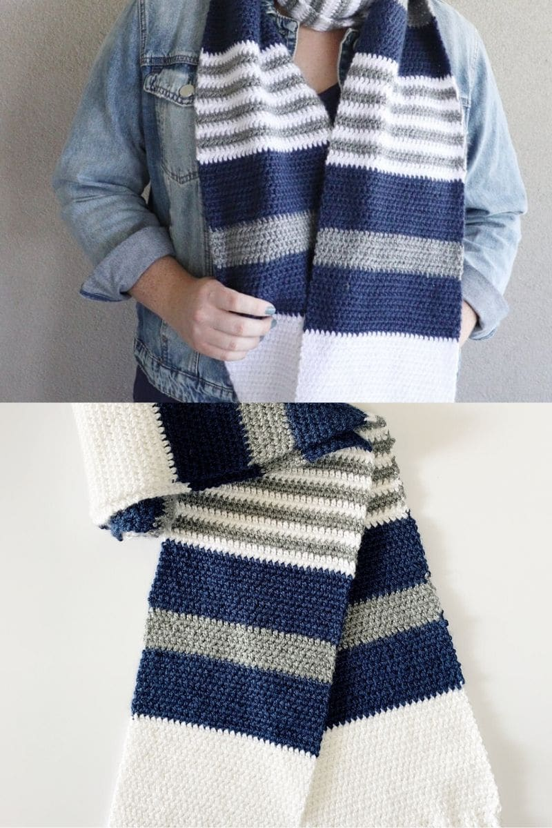 Blue and white striped college style scarf