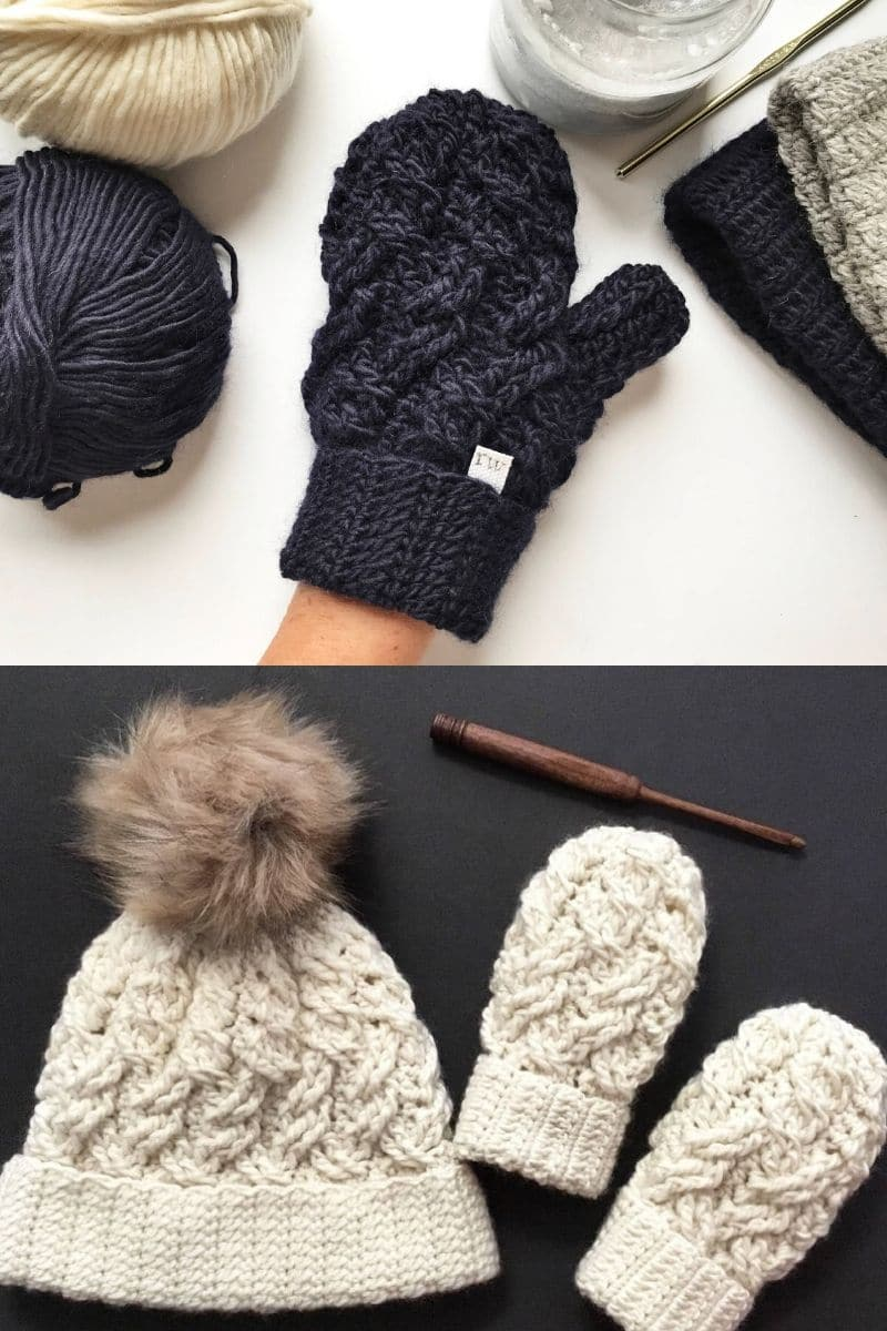 Navy and ivory crochet mittens with cabled detail