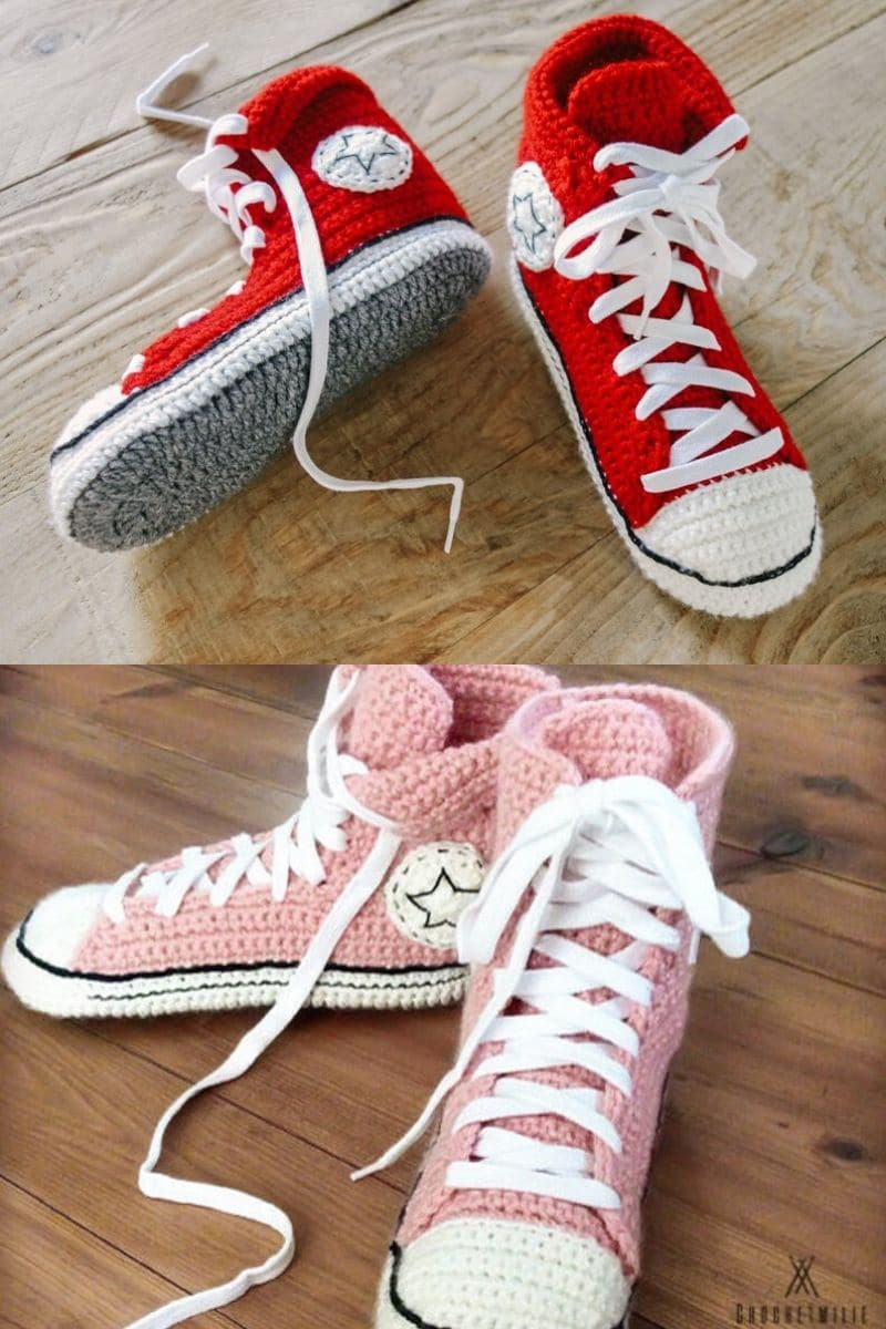 Crochet booties in a chuck taylor pattern