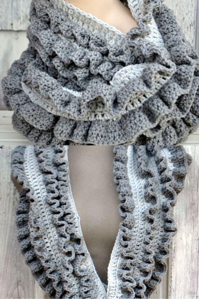 Grey ruffle infinity scarf