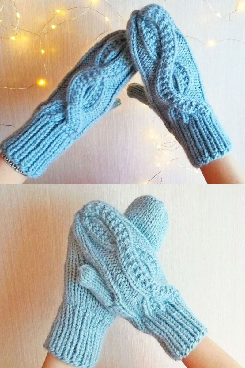Blue loop cabled stitch crochet mittens