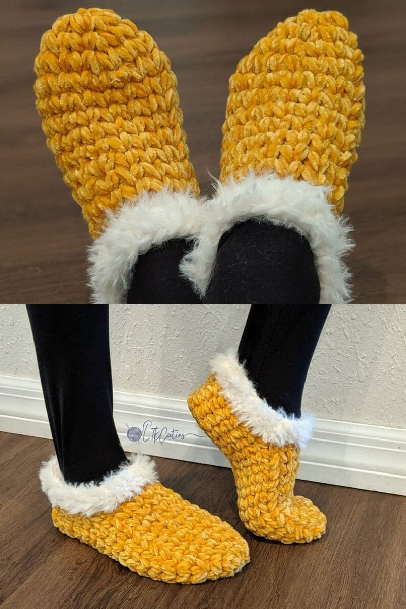 Yellow slippers with white furry trim