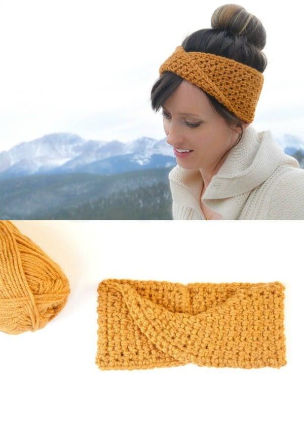 Golden Fave Twist Headband Crochet Pattern