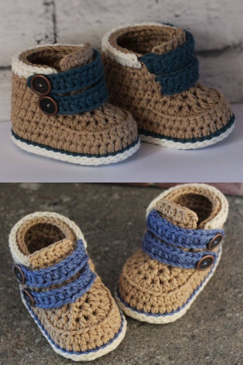 Brown and blue crochet boots with button