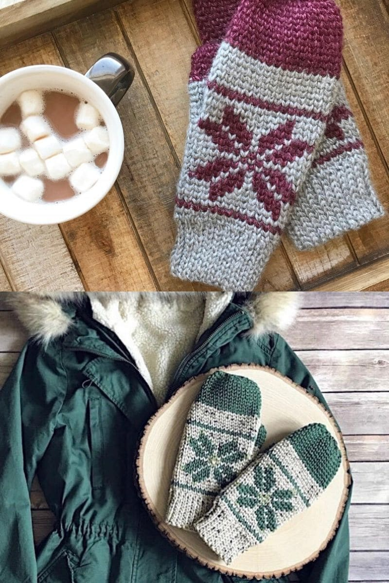 Grey and green and grey and maroon winter themed mittens