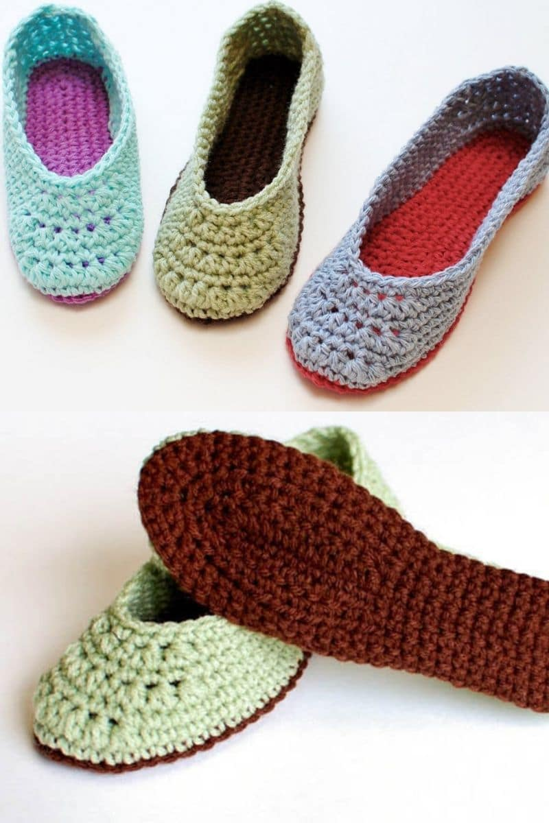 Lacy crochet slippers