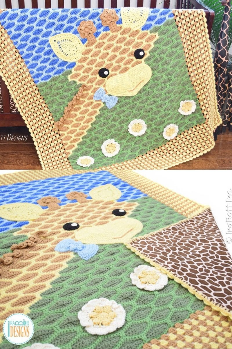 Giraffe pattern crocheted blanket