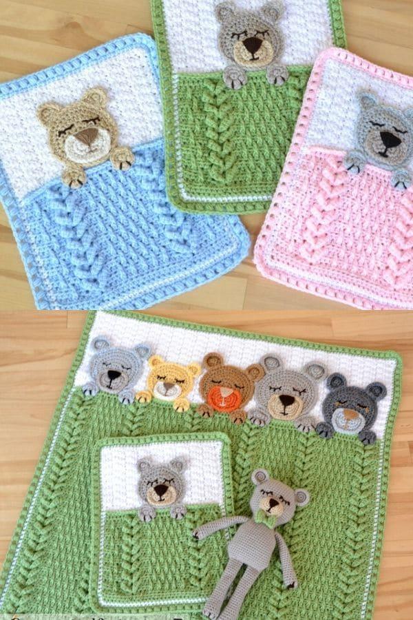 Sleeping bear crochet blanket