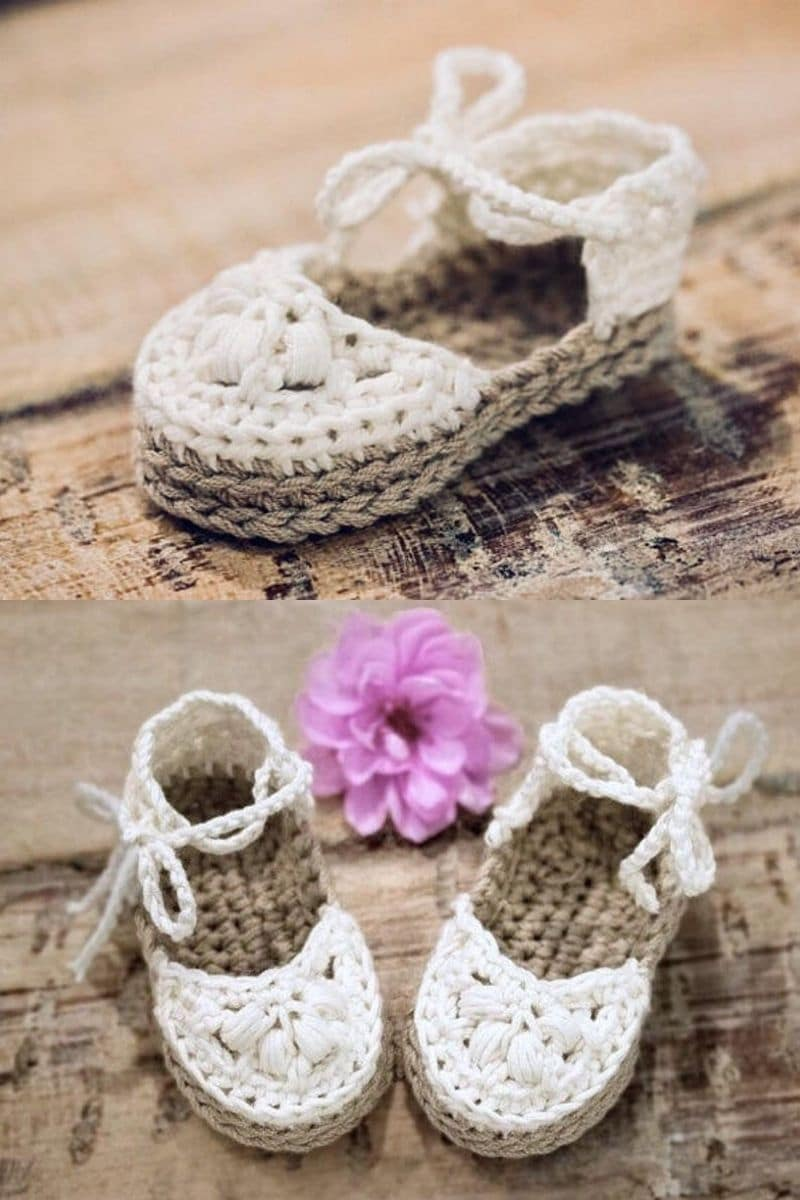 white and brown crochet sandal