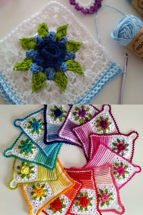 Colorful flower dishcloths