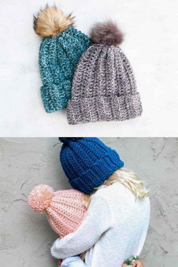 Simple beanie hat with wide brim