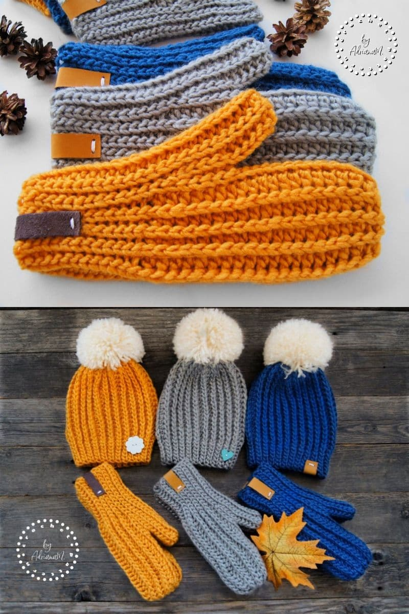 Basic orange and blue mittens