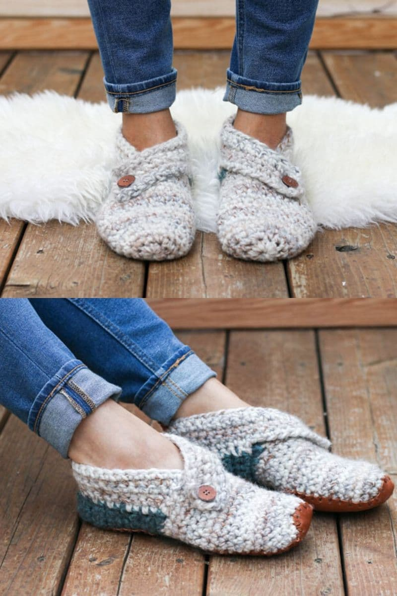 Chunky yarn crochet slippers with button detail