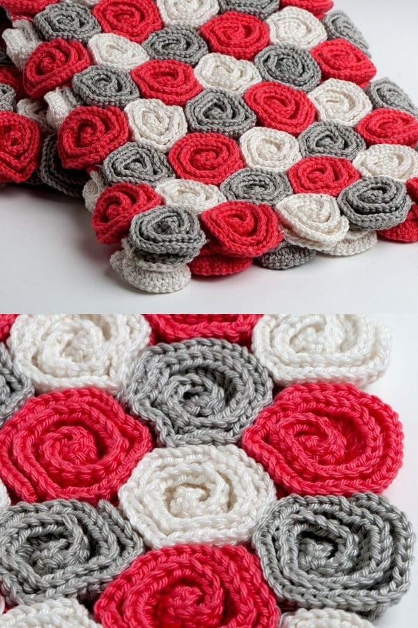 Grey red and white rose crochet blanket