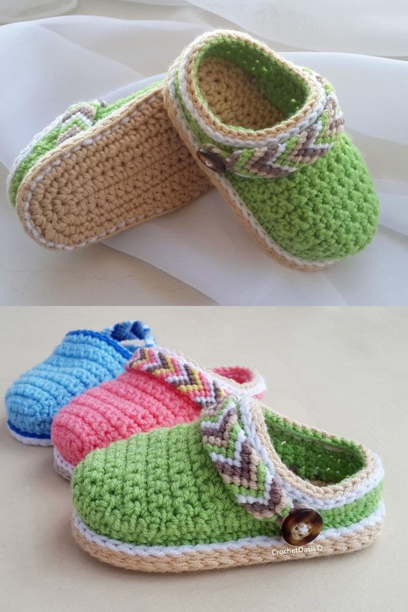 Colorful crochet clogs