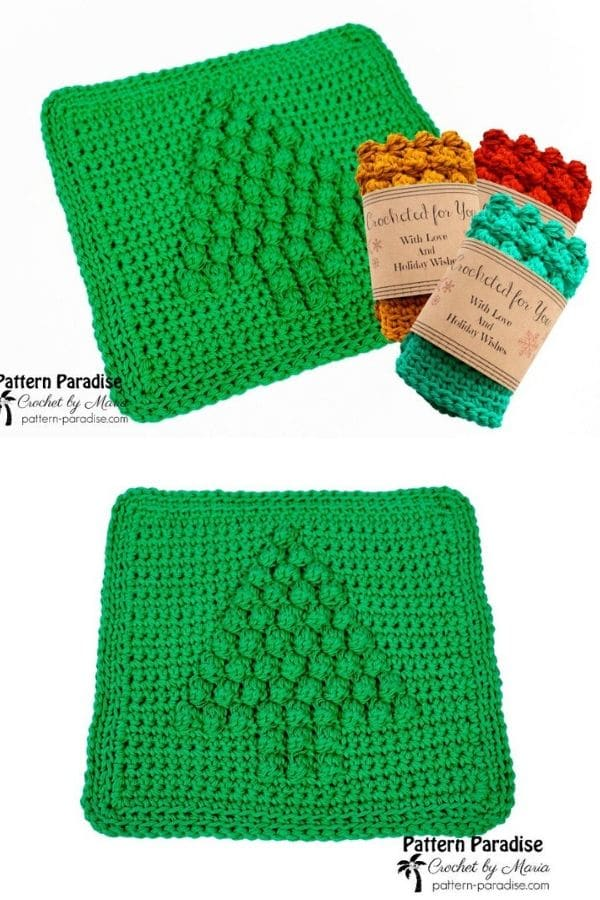 Green Christmas tree dishcloth