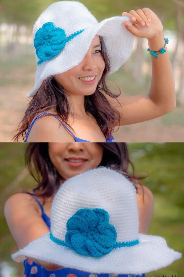 White and blue sun hat