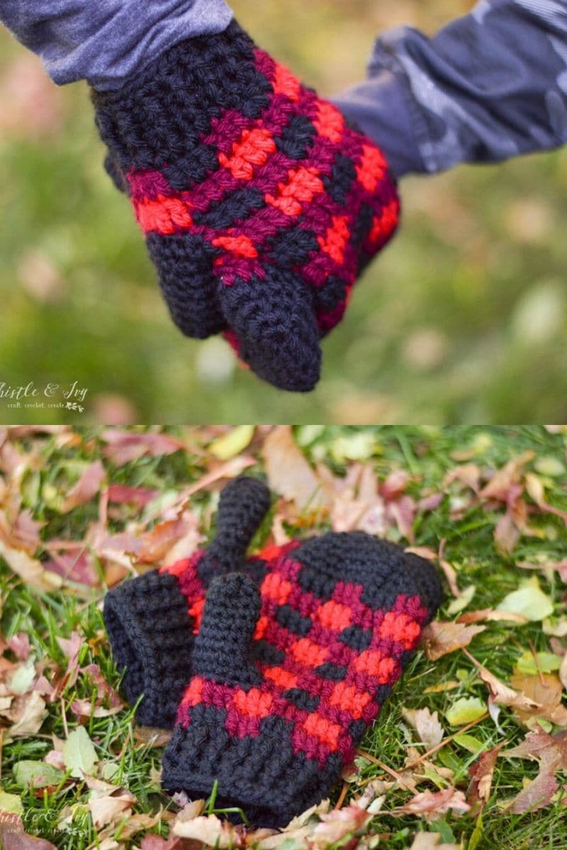 Blue pink and purple buffalo plaid mittens pattern