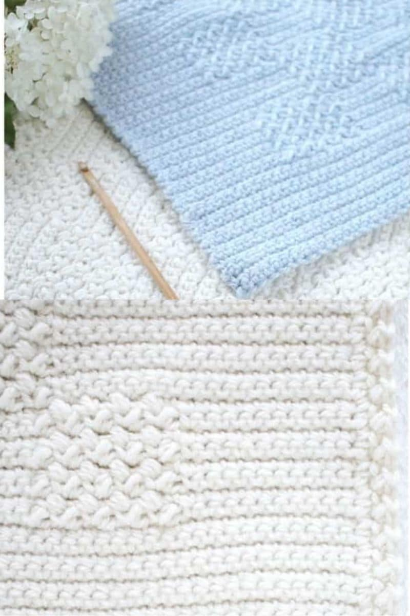 Simple basket weave grey afghan