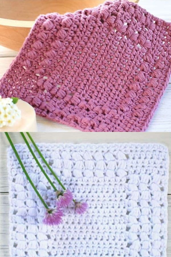 Purple and white puff stitch dishcloths