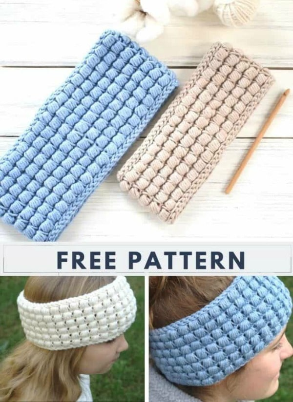Simple Puff Stitch Crochet Headband Pattern