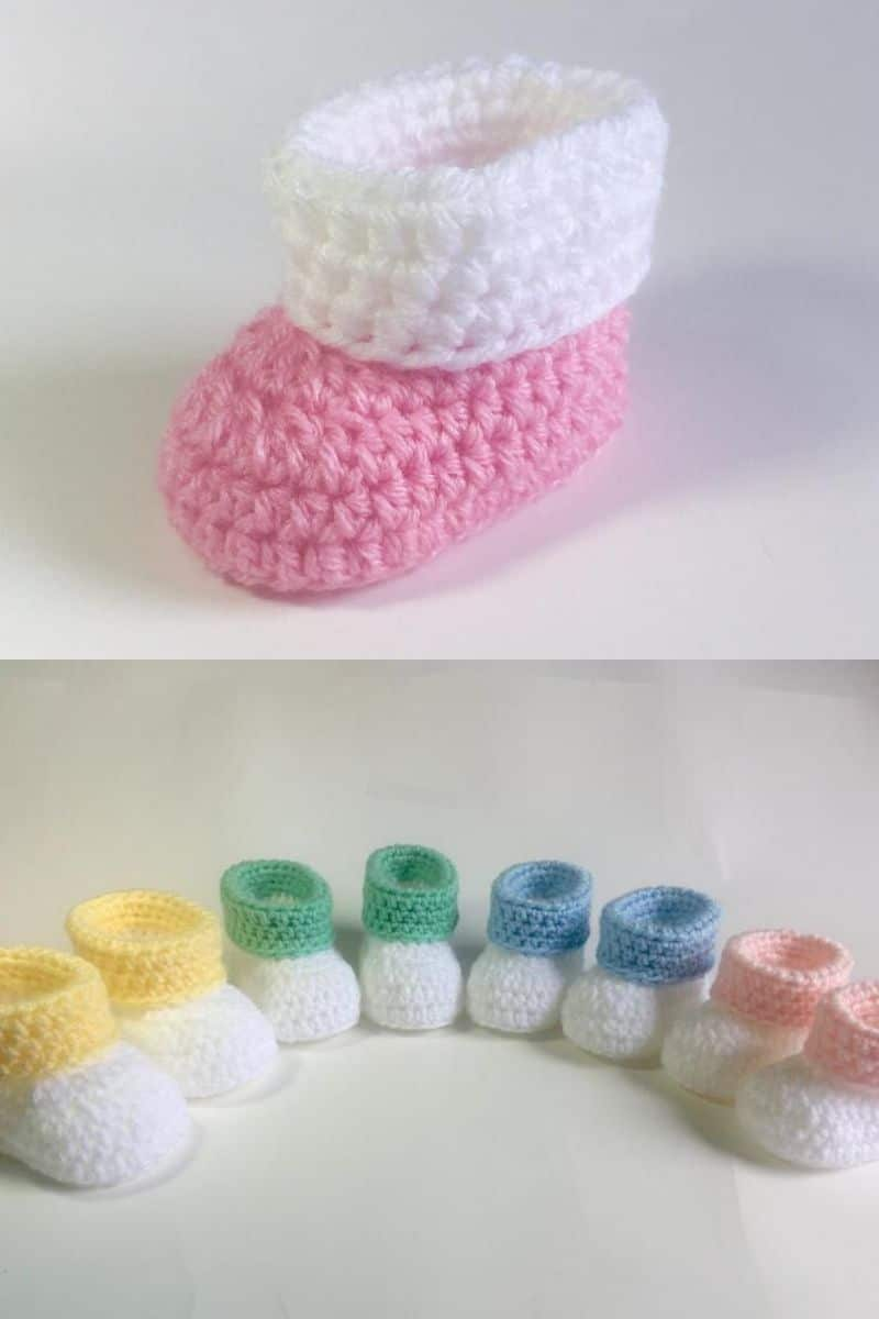 Pastel colored baby booties