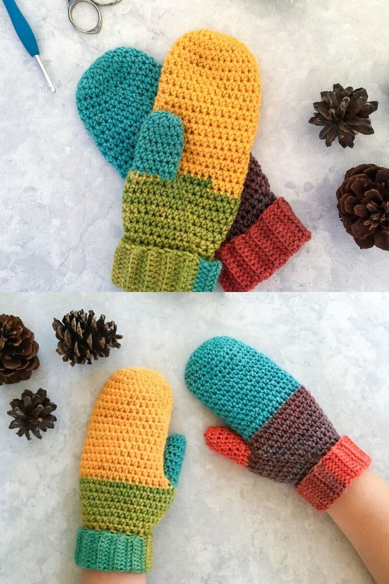 Color block crochet mittens pattern