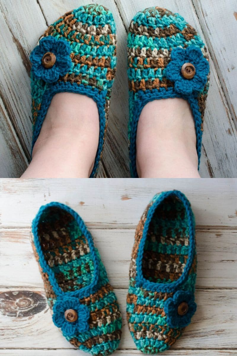 Crochet teal multi-colored ballet slipper with a flower embellishment
