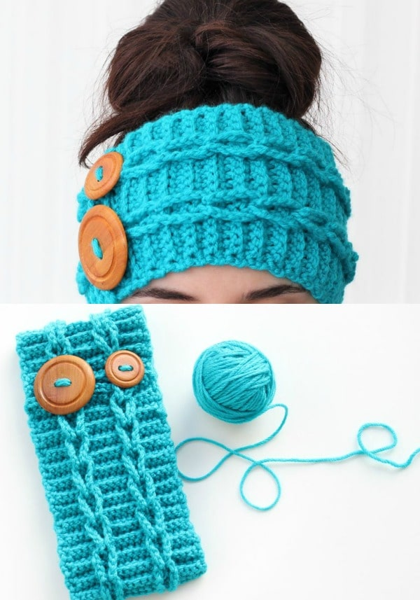 Double Button Thick Headband Pattern
