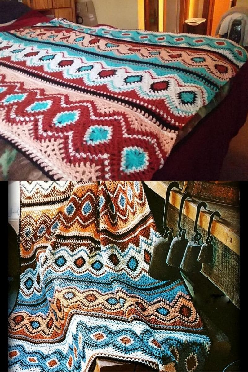 Zigzag colorful crochet afghans pattern