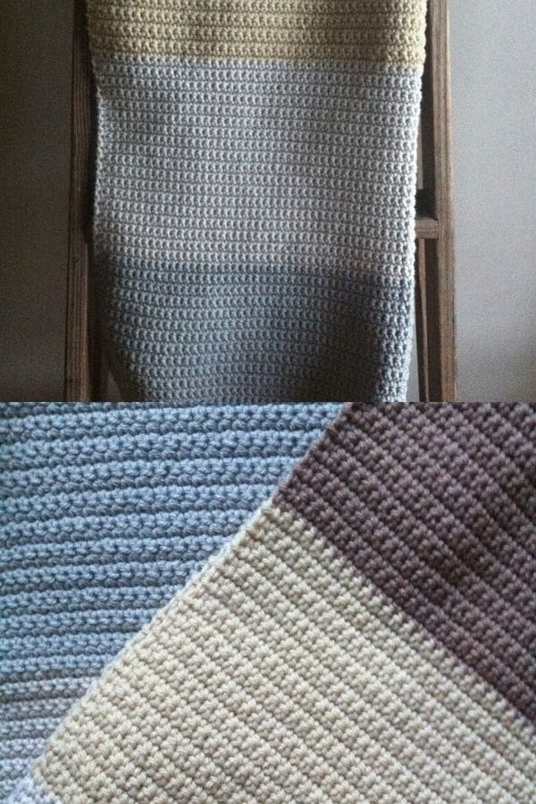 Color block crochet blanket