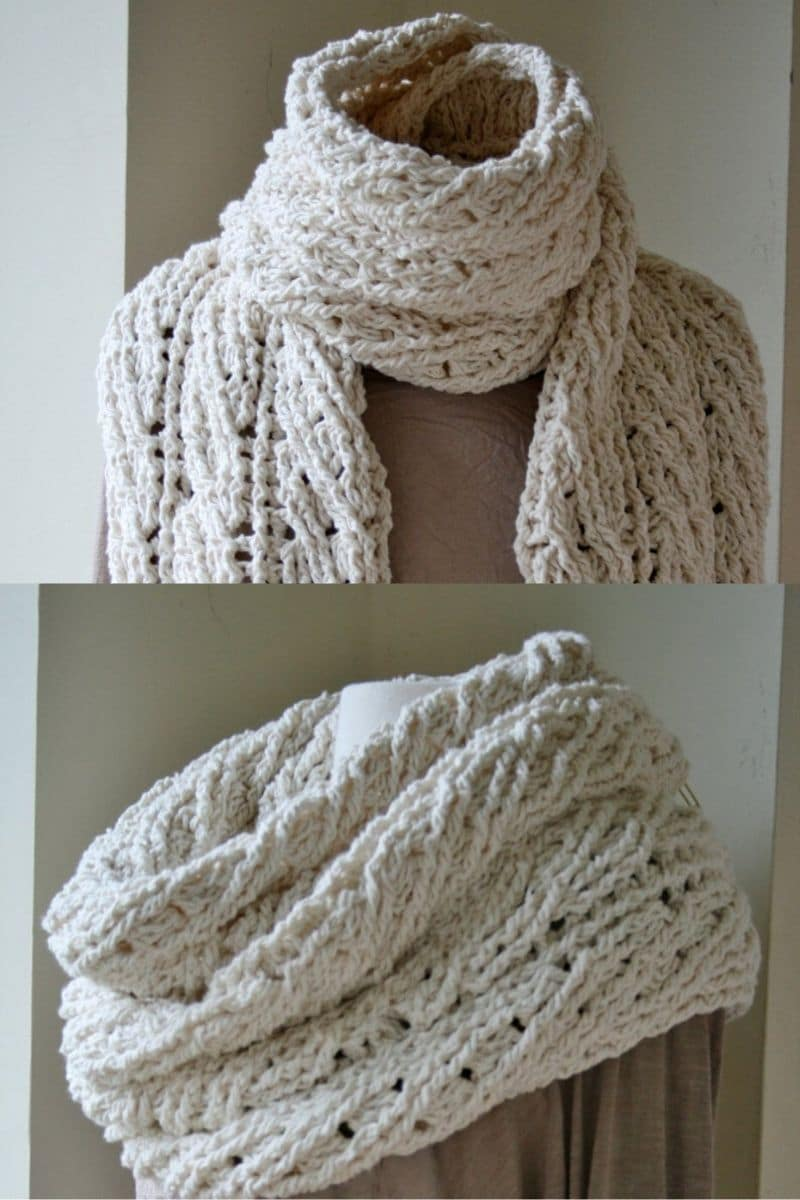 Ivory chunky cabled long scarf