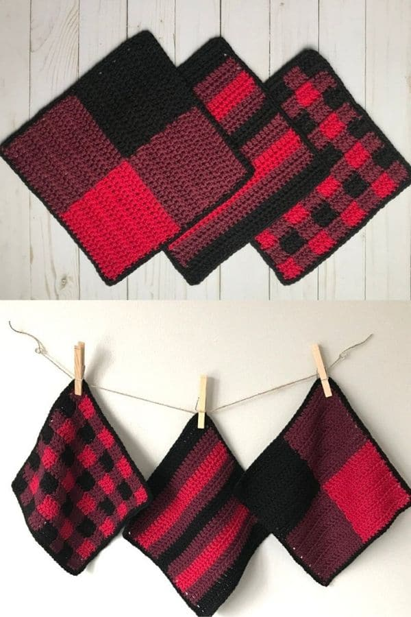 Three buffalo plaid dishcloths in red and black
