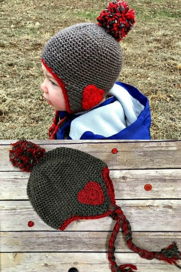 Black and red heart ear flap beanie hat