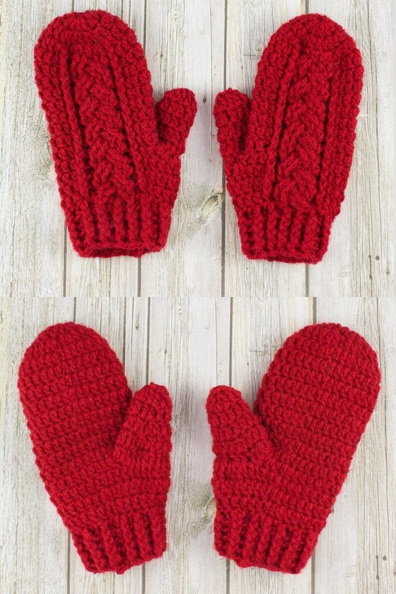 Red braided cables crochet mittens pattern