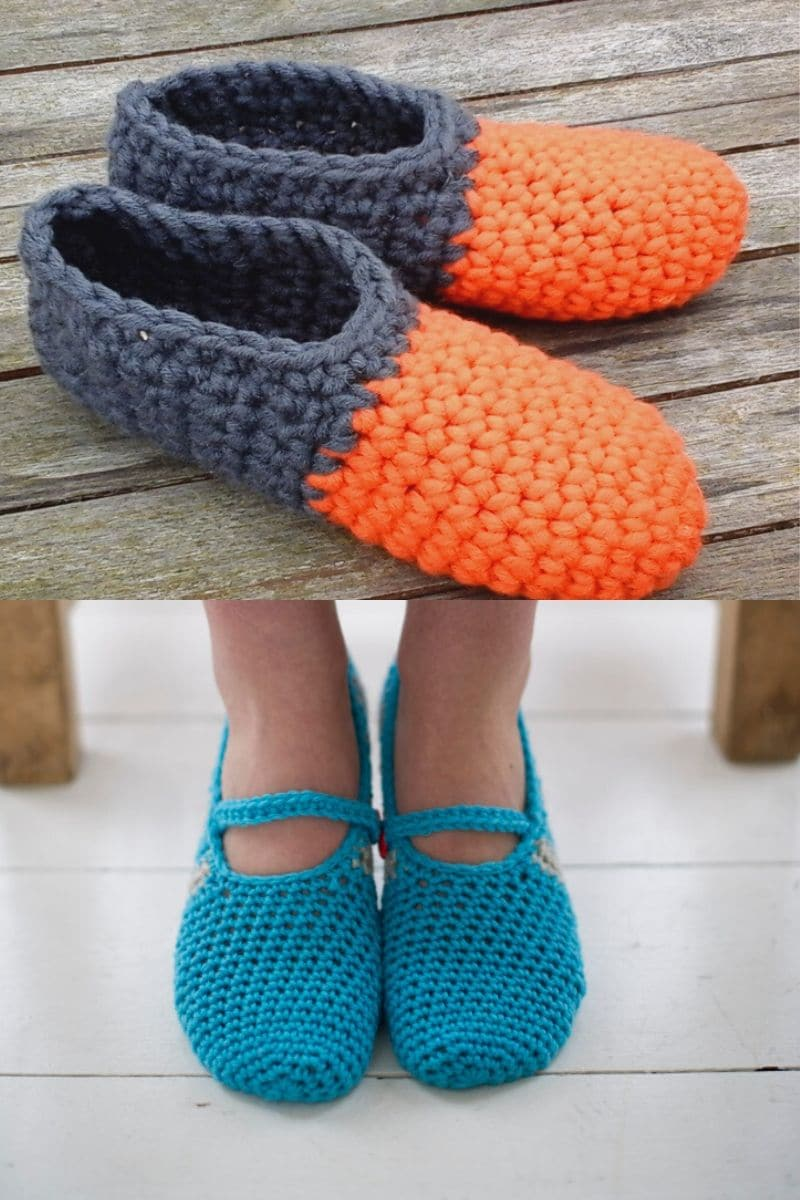Grey and orange crochet booties