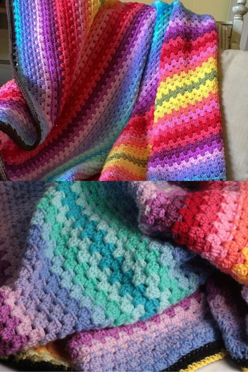 Bright colored crochet granny striped blanket