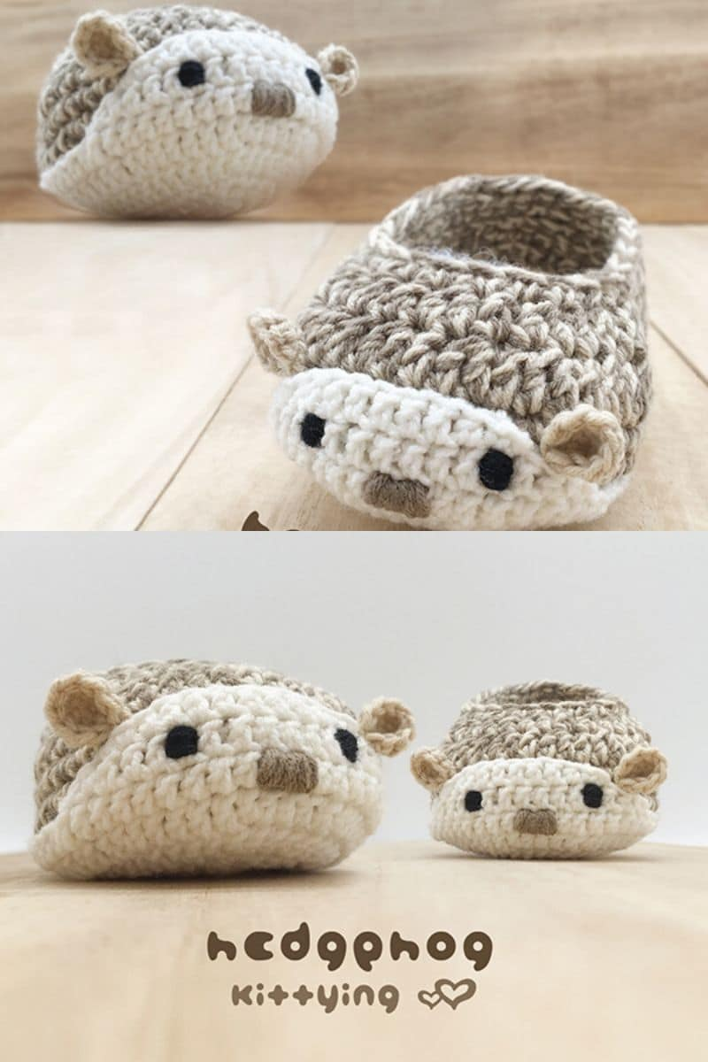 Crochet hedgehog booties pattern