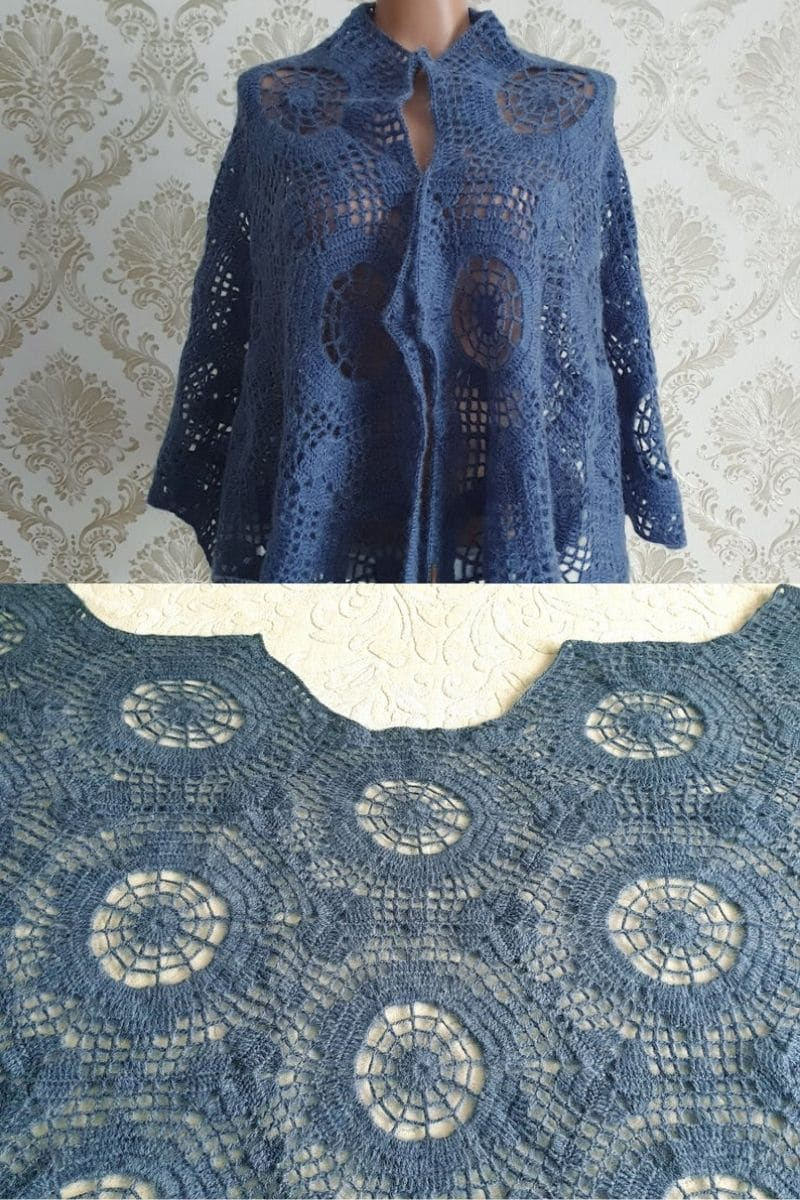 Blue lace hexagon print shawl