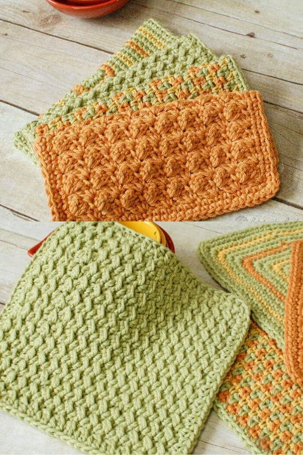 Green and orange crochet dishcloth