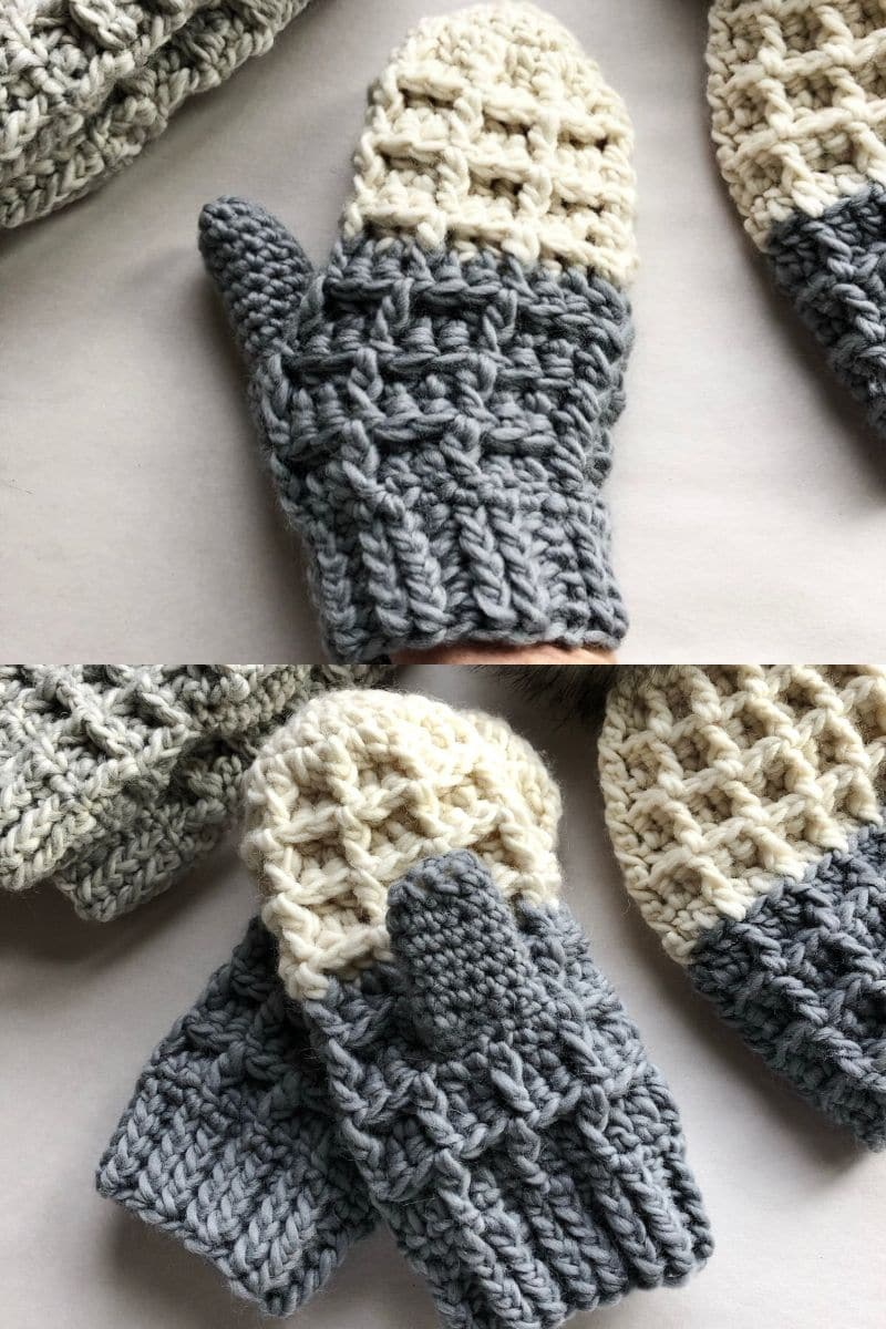 Grey and white waffle stitch mittens