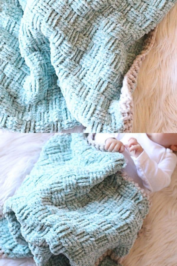 Crochet basket weave blue blanket