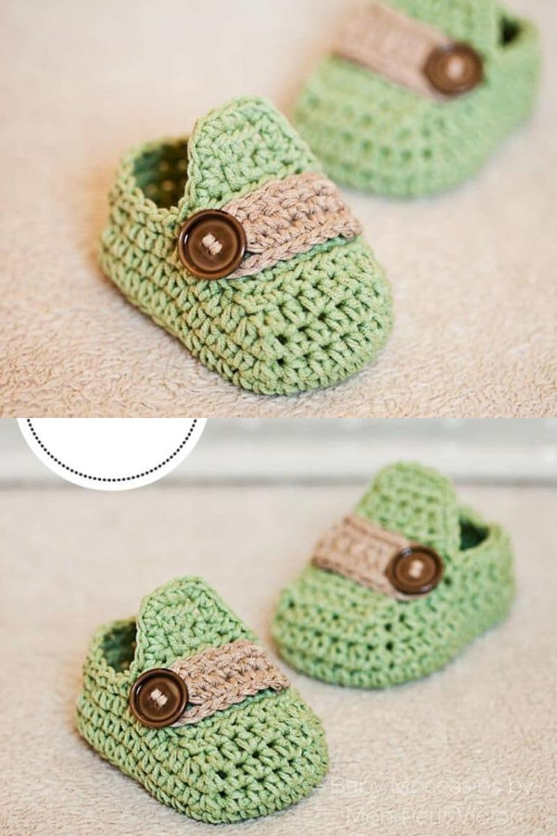Green moccasin style baby booties patterns