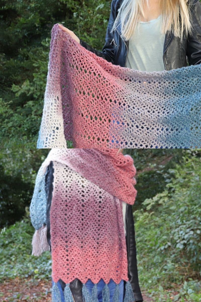 Long pink and blue blanket scarf