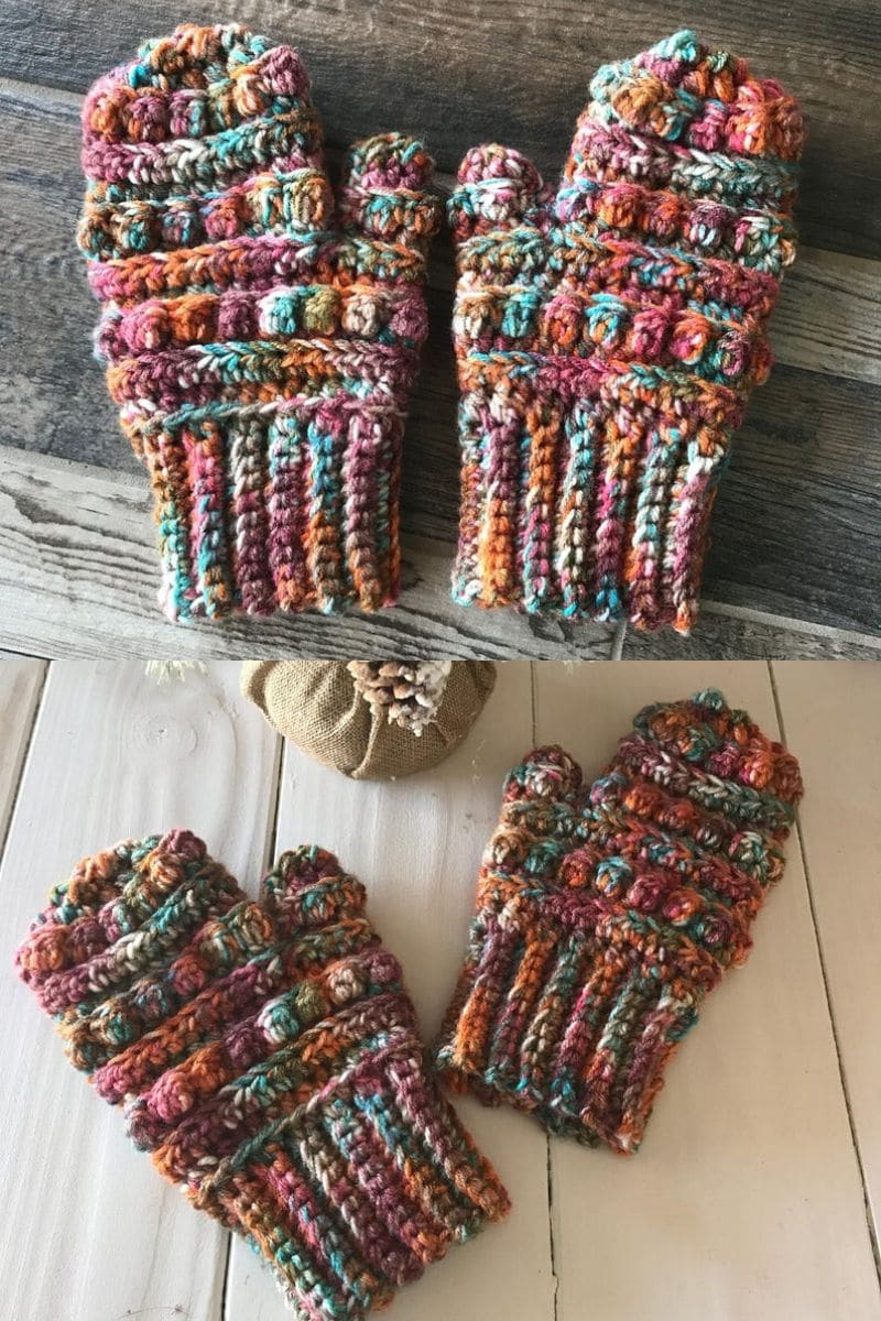 Multi-colored bubble stitch mittens