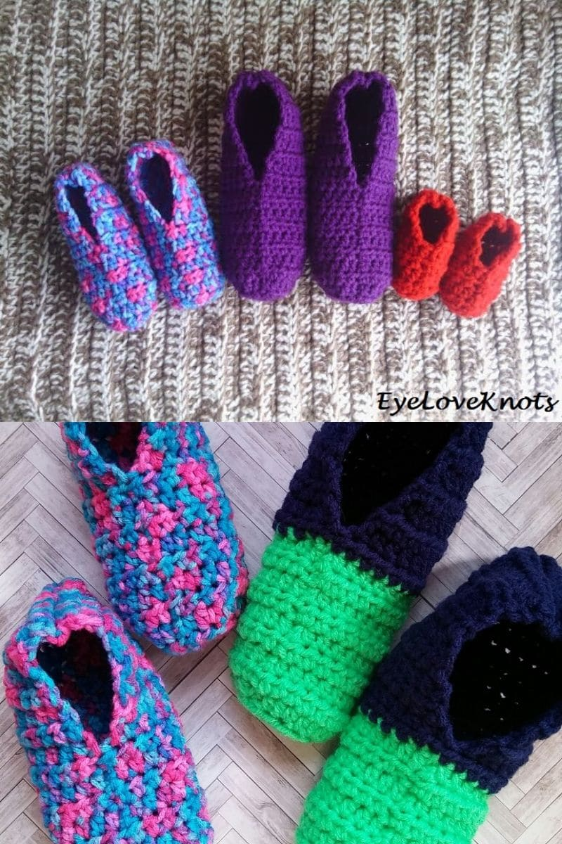 Colorful purple and red crochet slippers