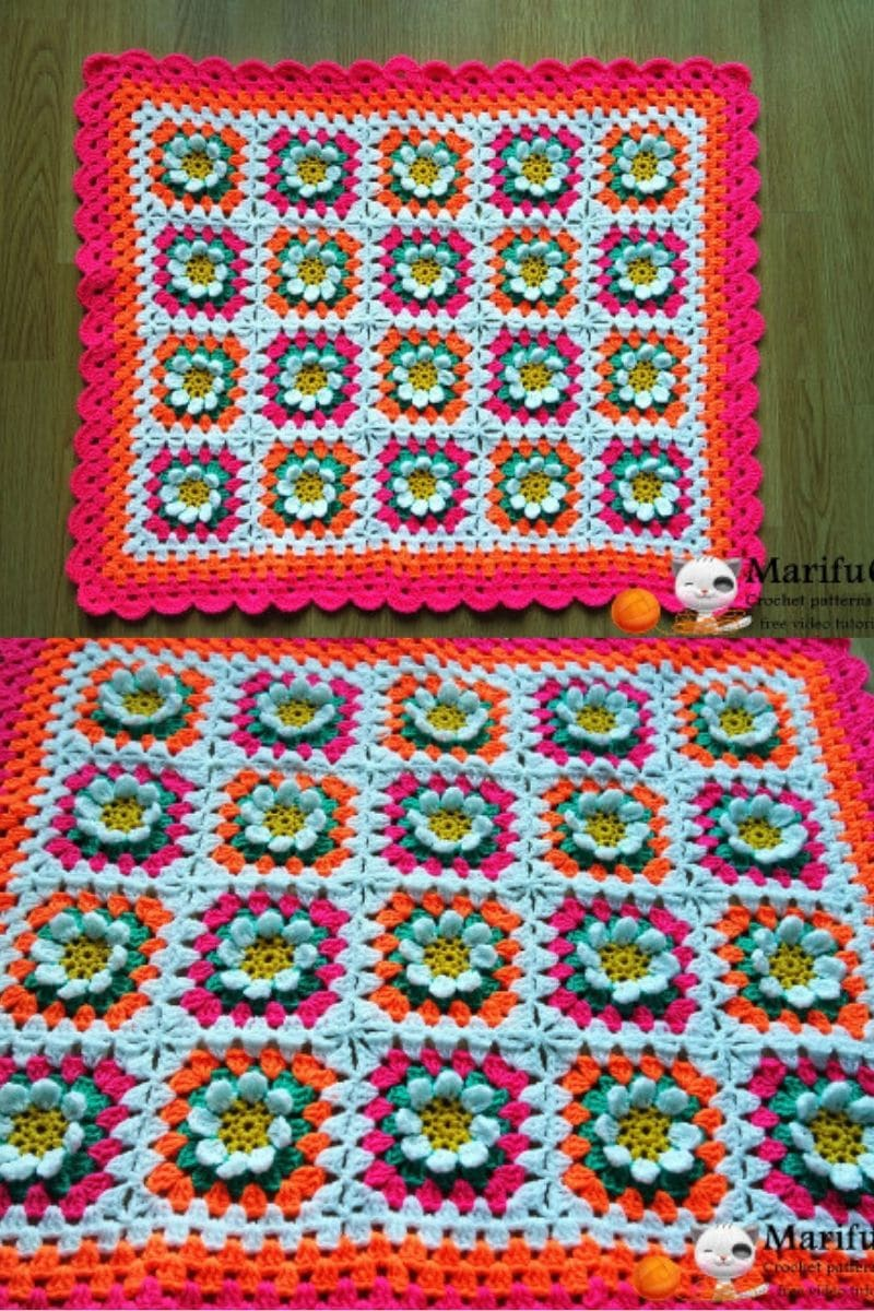 Bright colored crochet afghan flower blanket