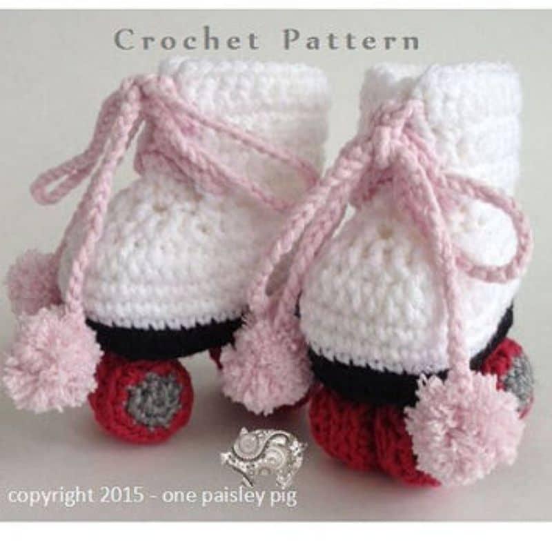 Crochet baby roller skates