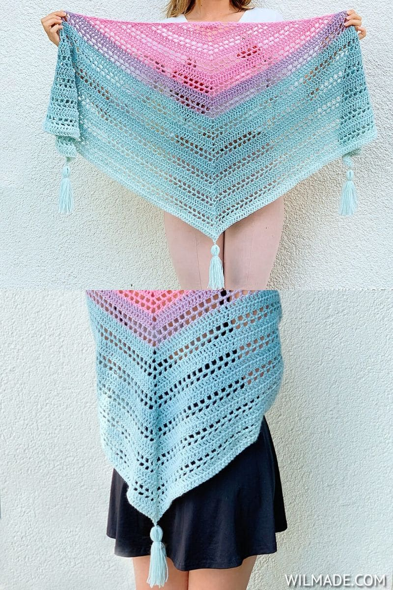 Tri-color triangle shawl